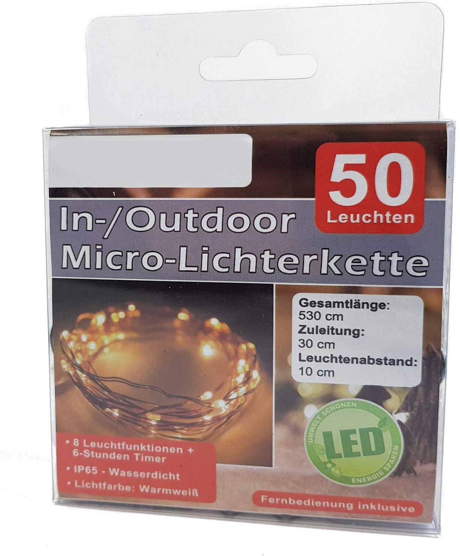 50er Holly Micro LED Lichterkette 2m Warmweiße LEDs Batterie Timer Lights4fun