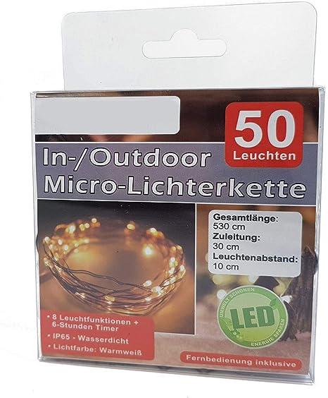 Led Micro Lichterkette Mit Fernbedienung Und Timer 50 Led Warmweiß Draht Lichterkette Mit Batteriebetrieb Für Innen Und Außen Beleuchtung
