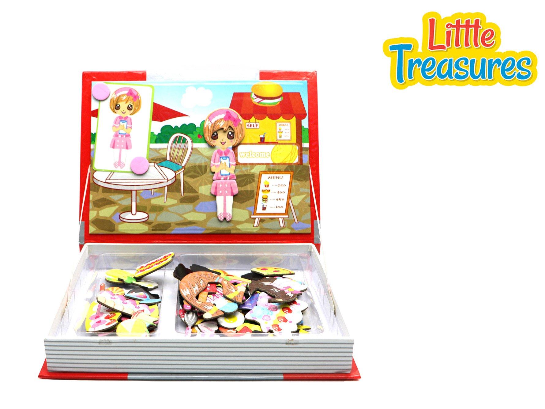 Little Treasures 103-Pcs Festival Feast Magnetic Puzzle Book Toy Set for Kids Ages 3 Plus