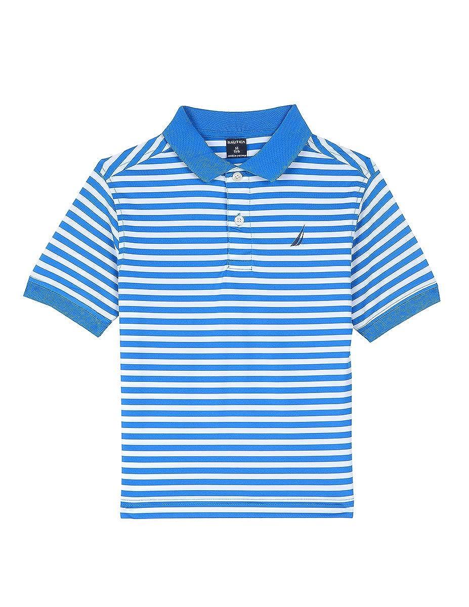 Nautica Boys Short Sleeve Striped Performance Polo Shirt