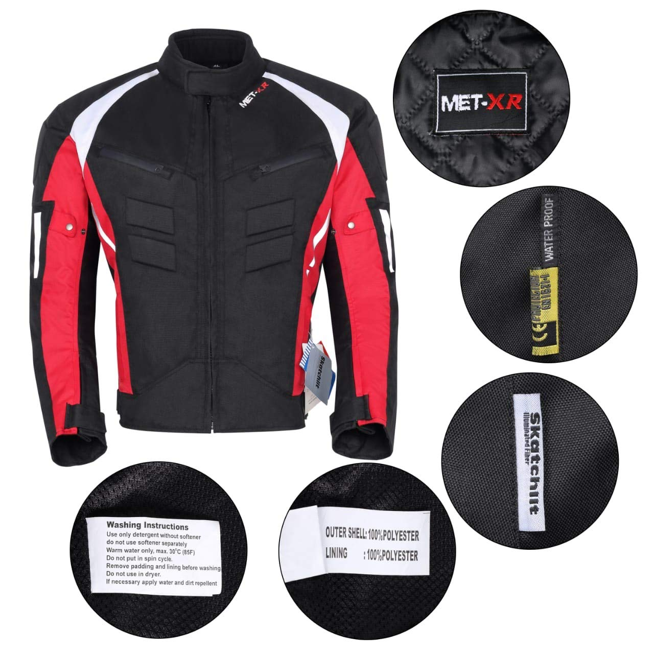 Mens Textile Motorcycle Jacket Cordura Motorbike Jacket Coat Breathable 100/% Waterproof CE Armoured SMALL 38