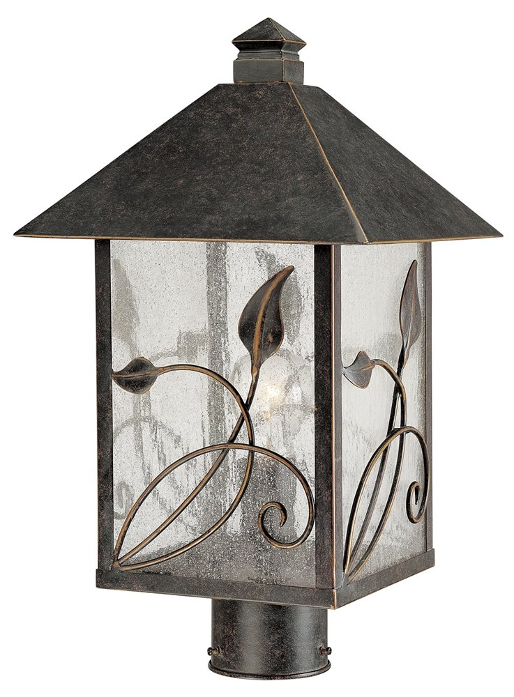 French Garden 17'' High Glass and Bronze Outdoor Post Light