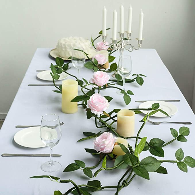 Artificial Flower Silk Rose Leaf String Leaf Vine Diamond Flower Rattan Decor TO
