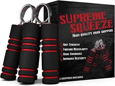 Hand Strengthener Set - 2 Hand Grips Included - Forearm Exerciser Perfect for Increasing Hand Grip Forearm and Wrist Strength - 66 Pound Resistance, Intermediate / Medium Level Grip Strengthener