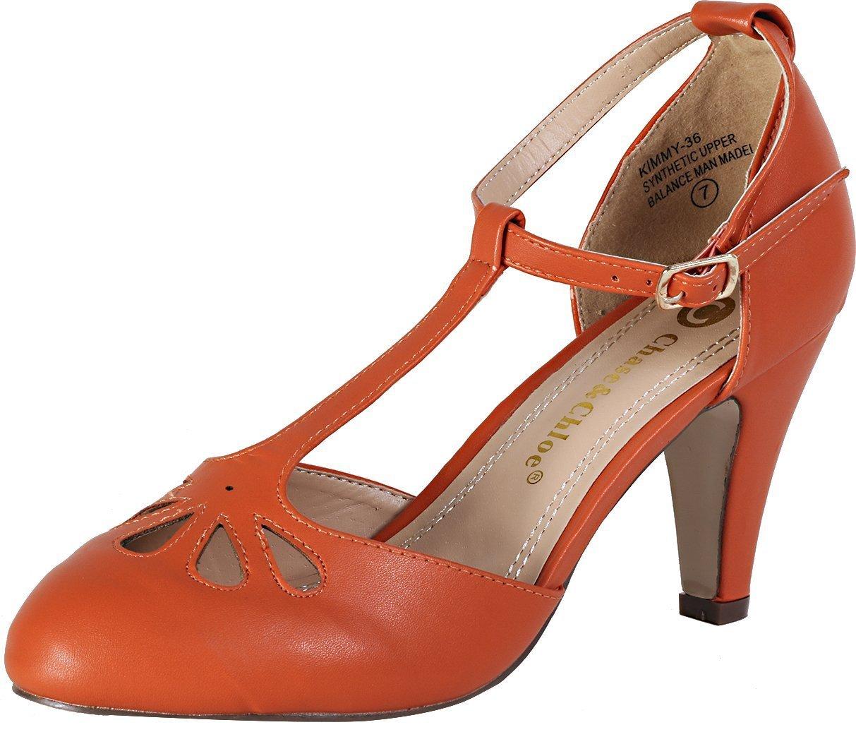 promo code 31025 4ff52 Chase   Chloe Kimmy-36 Women s Teardrop Teardrop Teardrop Cut Out T-Strap  Mid Heel Dress Pumps B01C4UO1WQ 8.5 M US Persimmon 10be10