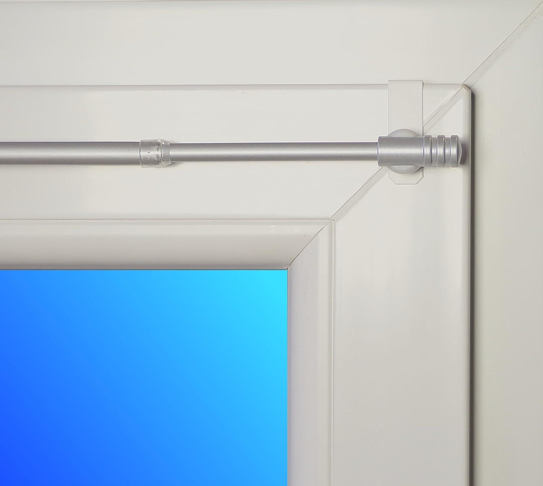 Dekondo - Asta per Tende Rapid Fix-klick, Estensibile da 75 a 110 cm, in Nichel (per finestre dallo Spessore di 15 a 20 mm)