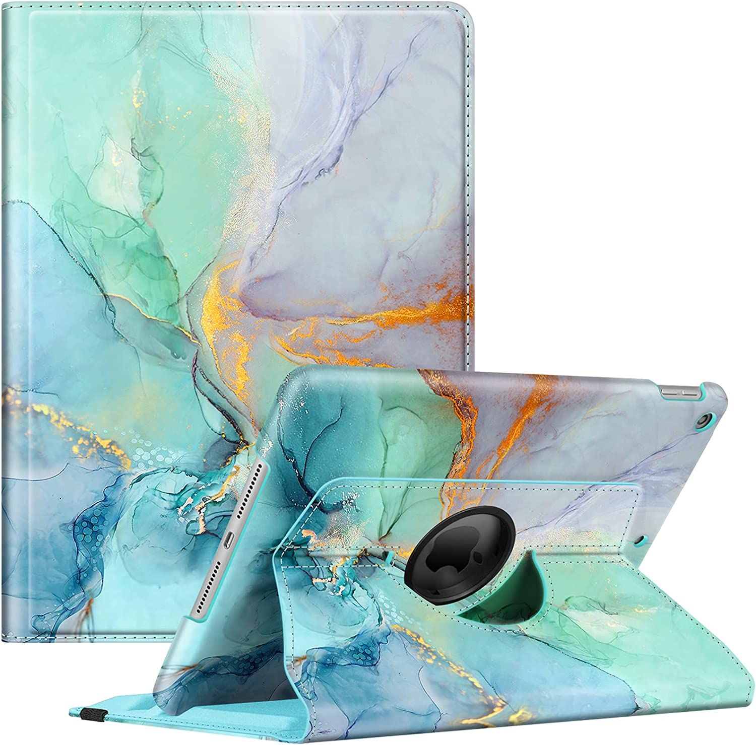 Fintie Rotating Case for New iPad 8th Gen (2020) / 7th Generation (2019) 10.2 Inch - [Built-in Pencil Holder] 360 Degree Rotating Smart Protective Stand Cover with Auto Sleep/Wake, Emerald Marble