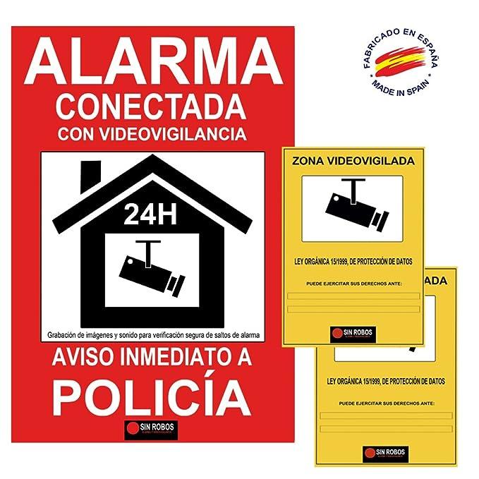 Docliick®. Cartel alarma casa rojo.Cartel disuasorio con camara seguridad exterior y sistema de fijación. Regalo de 2 vinilo de cartel alarma casa que ...