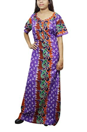 Indiatrendzs Women Long Maxi Nightgown Cotton Printed House Wear (Blue Orange)   Amazon.in  Clothing   Accessories 397e63d28
