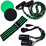 Resistance Bands Full Body Home Workout Set - 5 Stackable Exercise Bands, 3 Loop Resistance Bands, 2 Core Sliders…