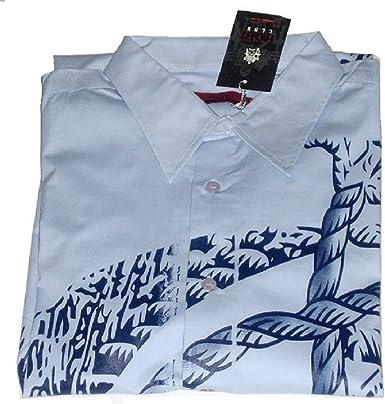Hobi Club - Camisa casual - Estrellas - con botones - para hombre azul azul: Amazon.es: Ropa y accesorios