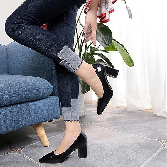 Zapatos de tacón cuadrado de moda para mujeres de tacón bajo Zapatos de tacón alto poco profundos(36 EU, Negro): Amazon.es: Ropa y accesorios