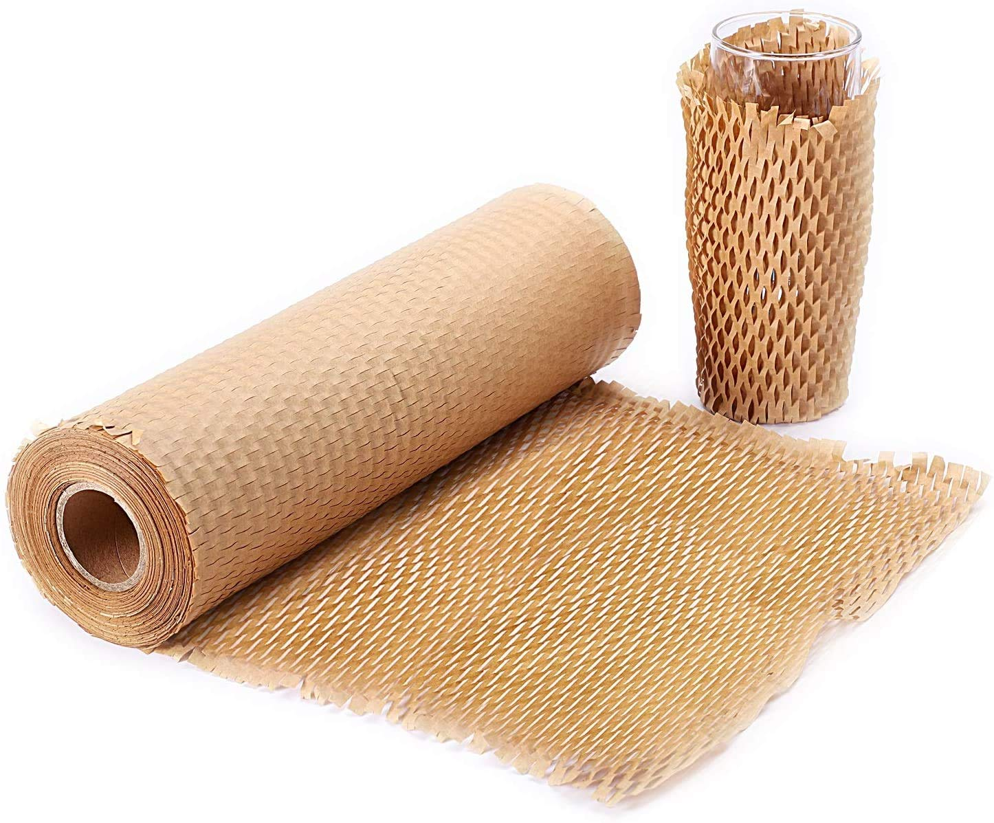 """METRONIC Packaging Paper 12""""x128' Honeycomb Cushioning Wrap Roll Perforated-Packing,1 Rolls 128 Ft Honeycomb Wrap Roll with 20 Fragile Sticker Labels, Honeycomb Wrap Roll for Packing & Moving"""