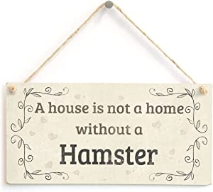 Meijiafei A House is Not A Home Without A Hamster - Lovely Rustic PVC Pet Sign/Plaque 10