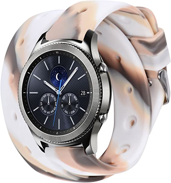 Gear S3 Bands, Silicone Watch Bands for Women Double Tour Rubber Strap Quick Release Color Splicing Wristband with Metal Clasp for Samsung Gear S3 ...