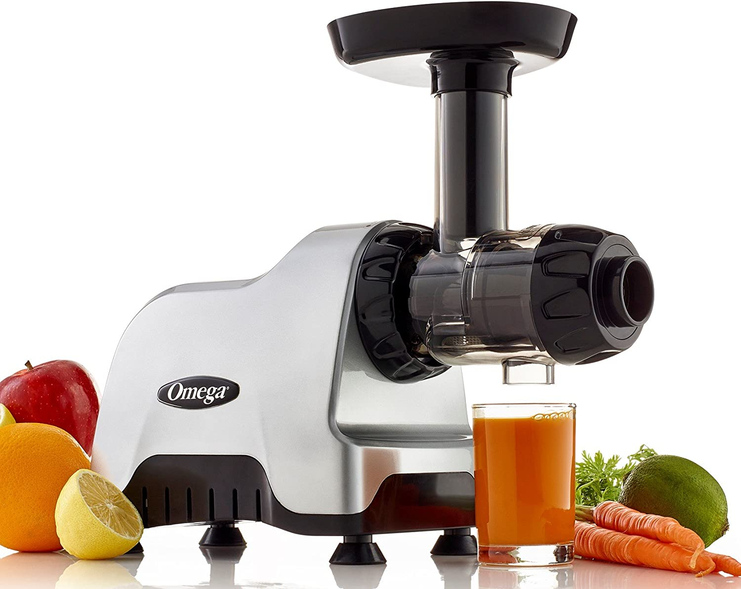 Omega Compact Slow Speed Multi-Purpose Nutrition System Juicer with Quiet Motor Creates Continuous Fresh Healthy Fruit and Vegetable Juice at 80 RPM, 200-Watt, Silver