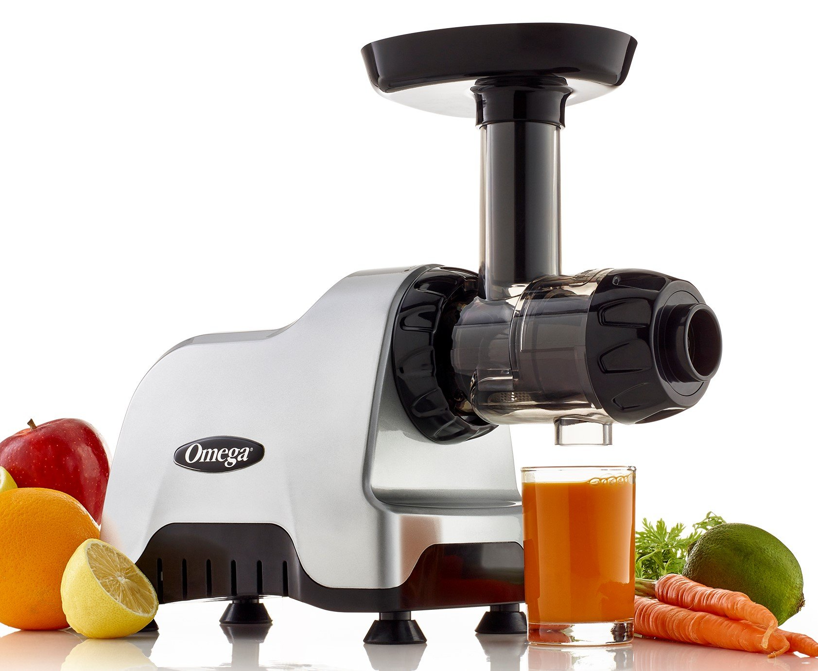Omega CNC80S Compact Slow Speed Multi-Purpose Nutrition Center Juicer with Quiet Motor Creates Continuous Fresh Healthy Fruit and Vegetable Juice at 80 RPM 200-Watts Silver by Omega