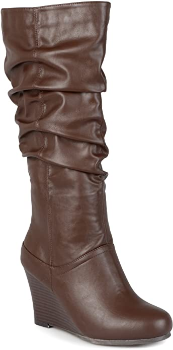 b96befbb536a Journee Collection Womens Regular Sized and Wide-Calf Slouch Knee-High Wedge  Dress Boots