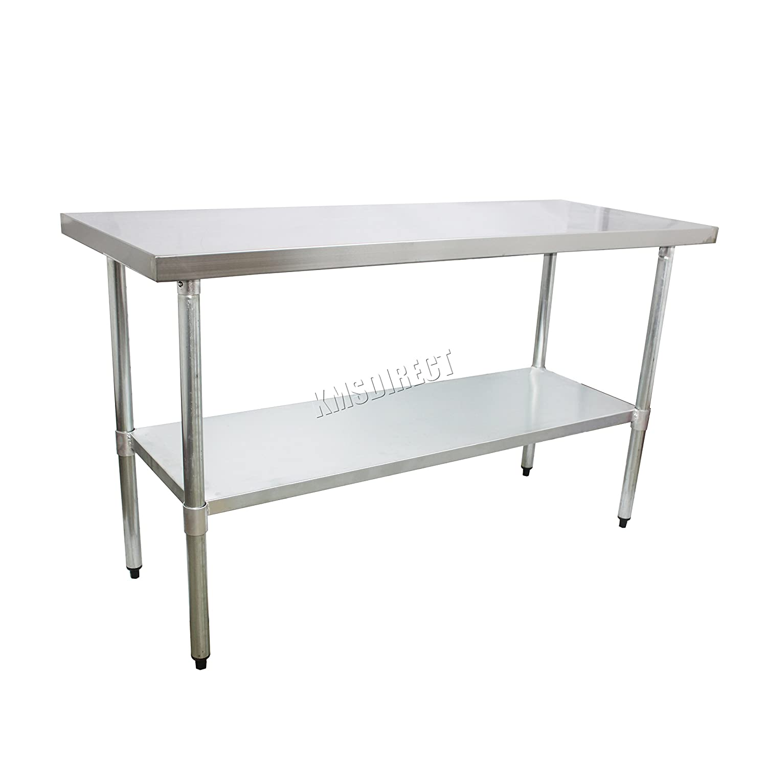 FoxHunter Stainless Steel Commercial Catering Table Work Bench Food Prep  Kitchen Top 2FT X 4FT New