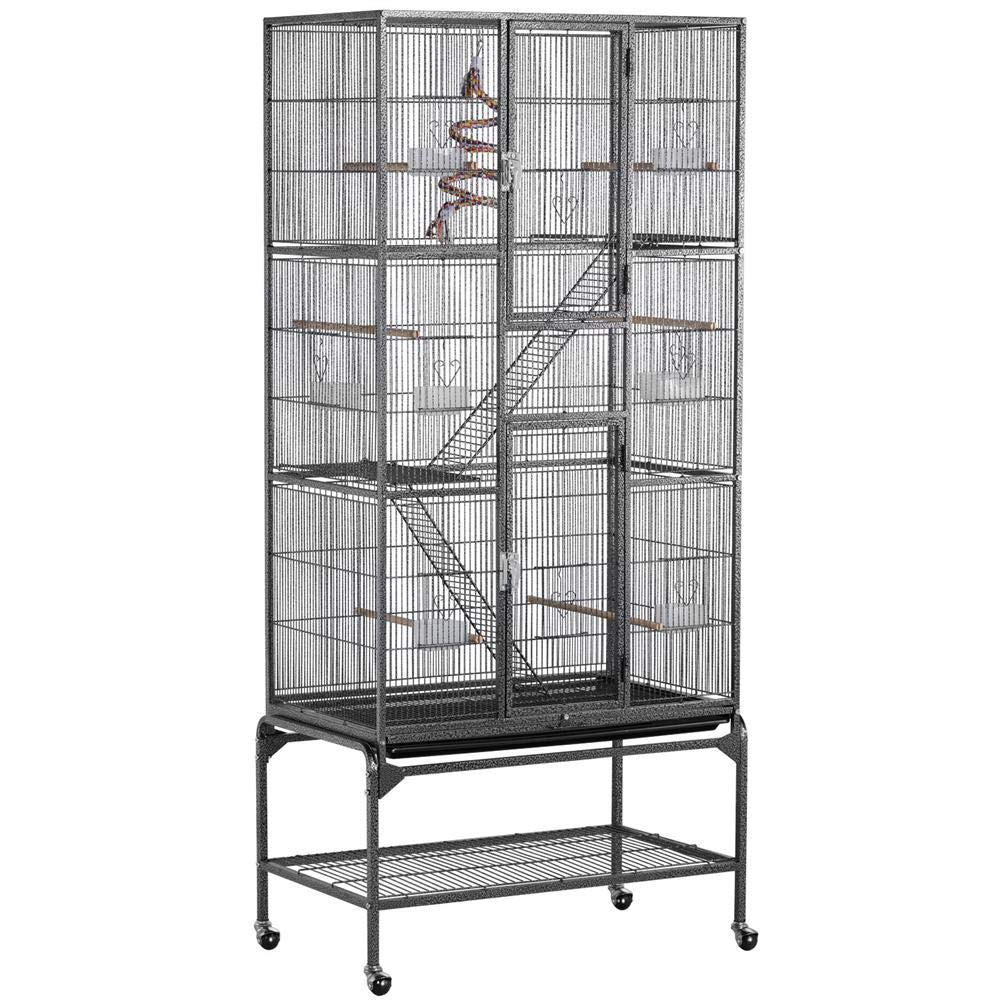 Yaheetech 69'' Extra Large Wrought Iron 3 Levels Ferret Chinchilla Sugar Glider Squirrel Small Animal Cage with Cross Shelves and Ladders