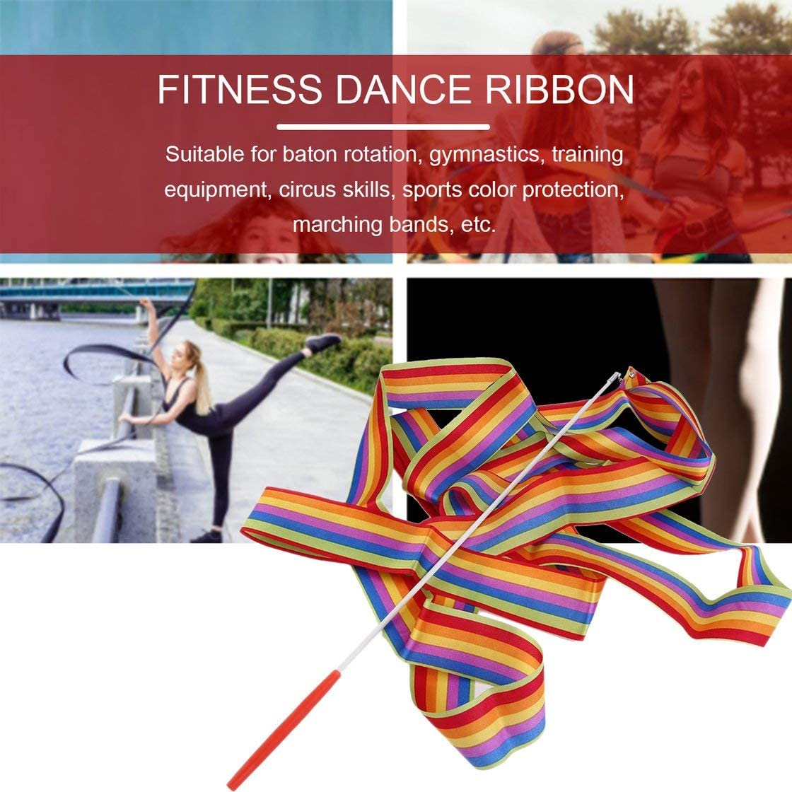 Jessicadaphne 4M Universel Gym Dance Ruban Art Rythmique Gymnastique Streamer Twirling Tige B/âton Danse Performace Accessoires