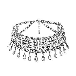 Deamyth Morden Rhinestone Chain Diamond Tassel Necklace