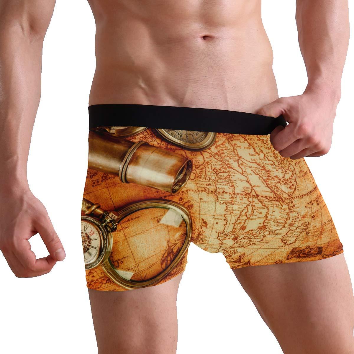 Vintage Map Telescope Magnifier Mens Underwear Soft Polyester Boxer Brief for Men Adult Teen Children Kids