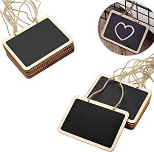 16 Pack Chalkboard Tags for Baskets Message Board Signs with String, Hanging Labels Chalkboard Signs Mini Erasable Chalkboard Labels, Food Labels, Wedding Parties, Price Message Tags