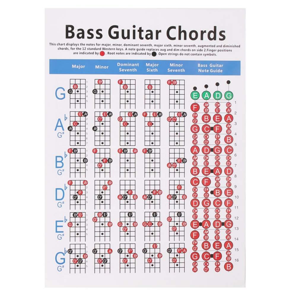Leezo - Gráfico educativo de 4 cuerdas para guitarra, póster ...