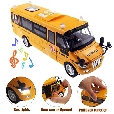 Tipmant High Simulation Alloy School Bus Model Toys Pull Back Vehicle Car with Sound & Music, Flashing Lights, Moveable Doors Kids Birthday: Toys & Games