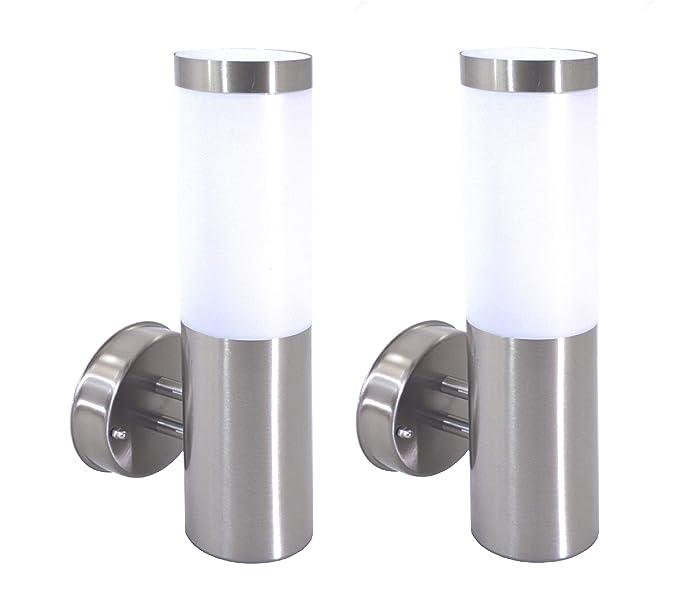 Trango TG8000L/2 - Juego de 2 lámparas de pared para exteriores (IP44, acero inoxidable, casquillo E27, para exterior)