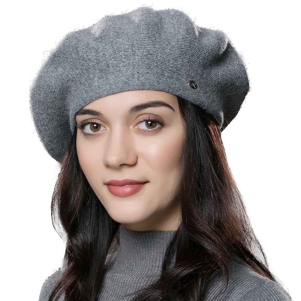 ENJOYFUR Women Beret Hat Wool Knitted Cap Autumn Winter Hat (Dark Gray)