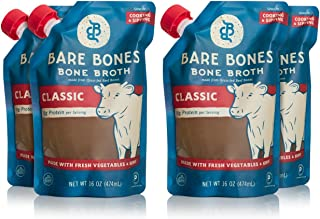 product image for Beef Bone Broth by Bare Bones – 100% Grass-fed, Organic, Beef Bone Broth, Protein/Collagen-rich, 16 oz (4 Pack)