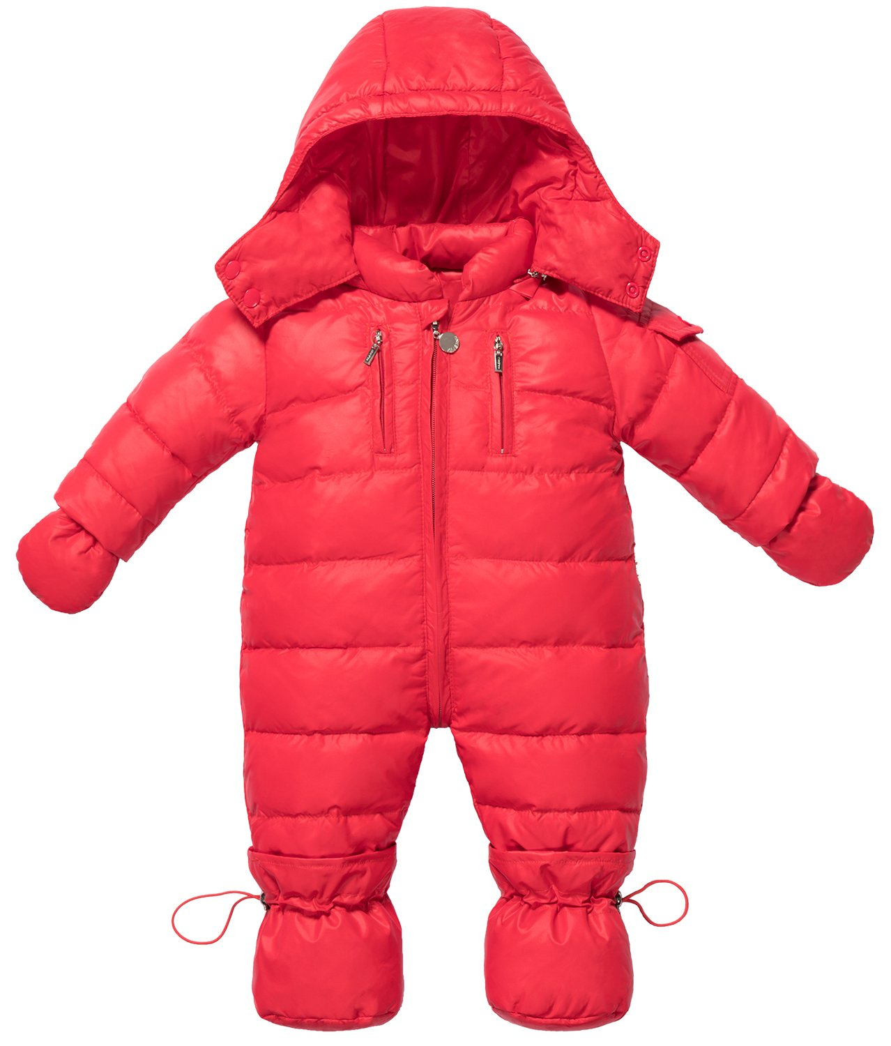 ZOEREA Infant Newborn Baby Hoodie Down Jacket Jumpsuit Pram Snuggly Snow Suit (Label 120/Age 12-18 Months, red) by ZOEREA