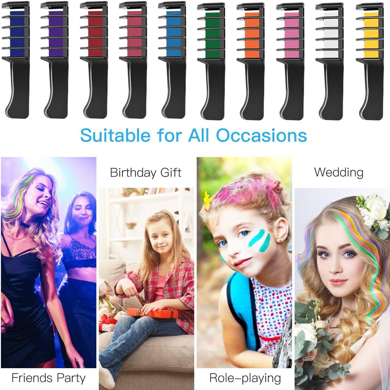 Tiza de Pelo, Kastiny 10 Colores Temporales de Cabello, Tinte para Cabello No Tóxico, Lavables Color, con Brillo de Tatuaje de Tiza Para Niños DIY ...