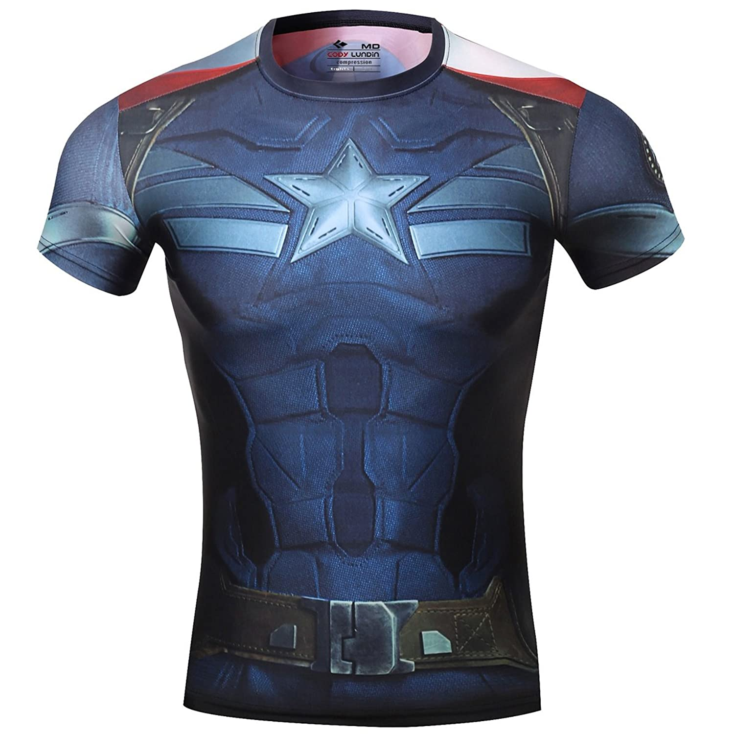 Image of Cody Lundin Men's Sonic Compression Rash Guard Hero Cap Steve the Avengers 2