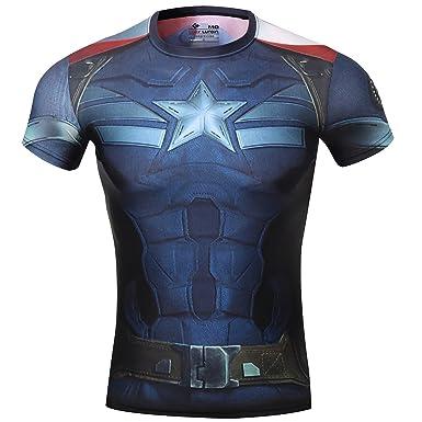 e6586f31192 Cody Lundin T-shirt cintré Motif costume du héro Captain America des  Avengers 2 pour homme  Amazon.fr  Vêtements et accessoires
