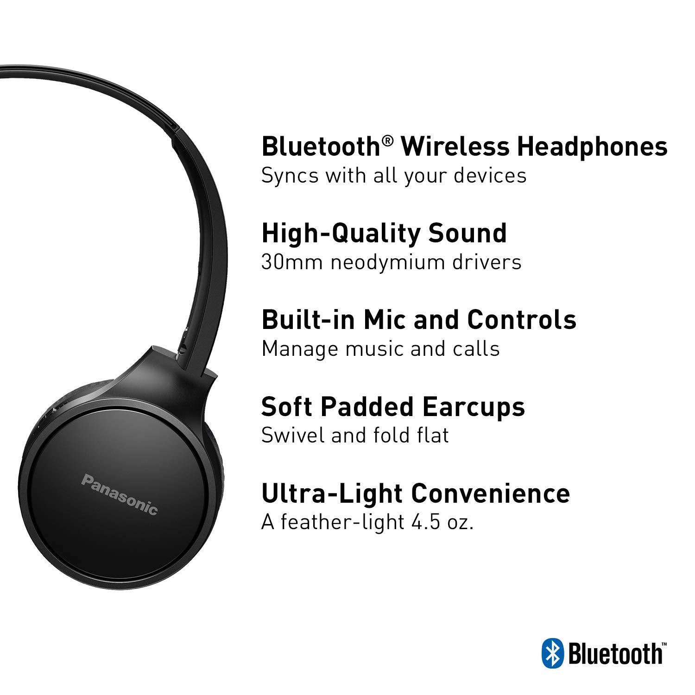 407f8e3b3fd Amazon.com: PANASONIC Bluetooth Wireless Headphones with Microphone and  Call / Volume Controller - RP-HF400B-K - On-Ear Headphones (Black):  Electronics