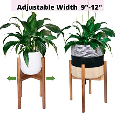 "Alfie and Gem Mid Century Plant Stand, Acacia Wood, Adjustable Planter 9""- 12"" Inch (Excluding Plant and Basket) Retro, Modern, Indoor Wooden Flower Pot Stand : Garden & Outdoor"