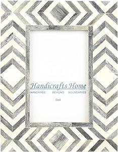 Handicrafts Home 4x6 Photo Frame Grey White Bone Mosaic Moroccan Picture Frames