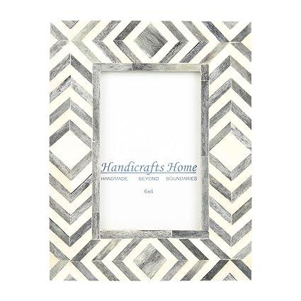 Amazon.com - Handicrafts Home 4x6 Photo Frame Grey White Bone Mosaic ...