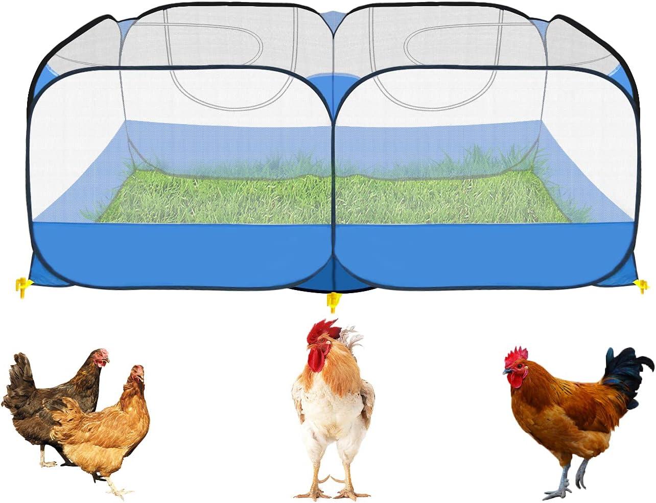 GABraden Portable Small Animals Playpen Chicken Run coop,Chicken Pen for Small Animals Outdoor Pet Enclosure Outdoor(Navy Blue)