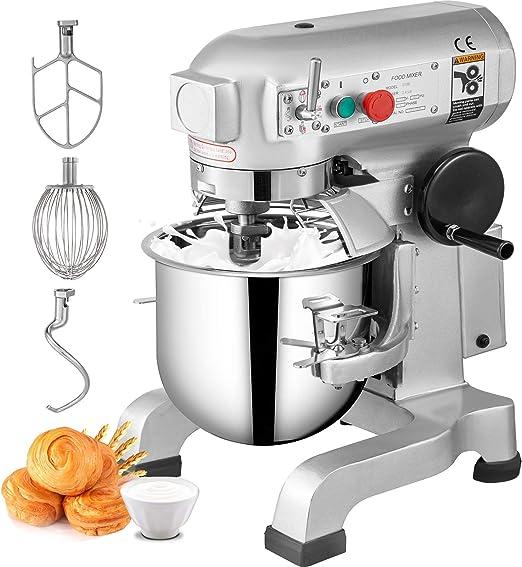VEVOR Batidora Amasadora repostería Profesional de 3 Velocidades Soporte Comercial Acero 20L Robot de Cocina con Protector para Salpicaduras Batidora de Varillas 520x420x760mm: Amazon.es