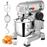 Happybuy Commercial Food Mixer 15Qt 600W 3 Speeds Adjustable 110/178/390 RPM Heavy Duty 110V with Stainless Steel Bowl Dough