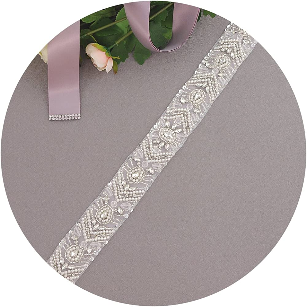 ULAPAN Womens Pearls Wedding Dress Belt Sash Rhinestones Bridal Sash Belt,S18