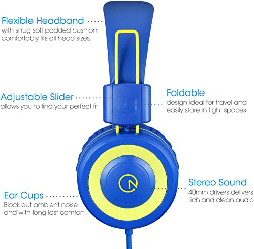 Kids Headphones – noot products K12 Foldable Stereo Tangle-Free 3.5mm Jack Wired Cord On-Ear Headset for Children Teens Boys Girls Smartphones School Kindle Airplane Travel Plane Tablet Blue Lime