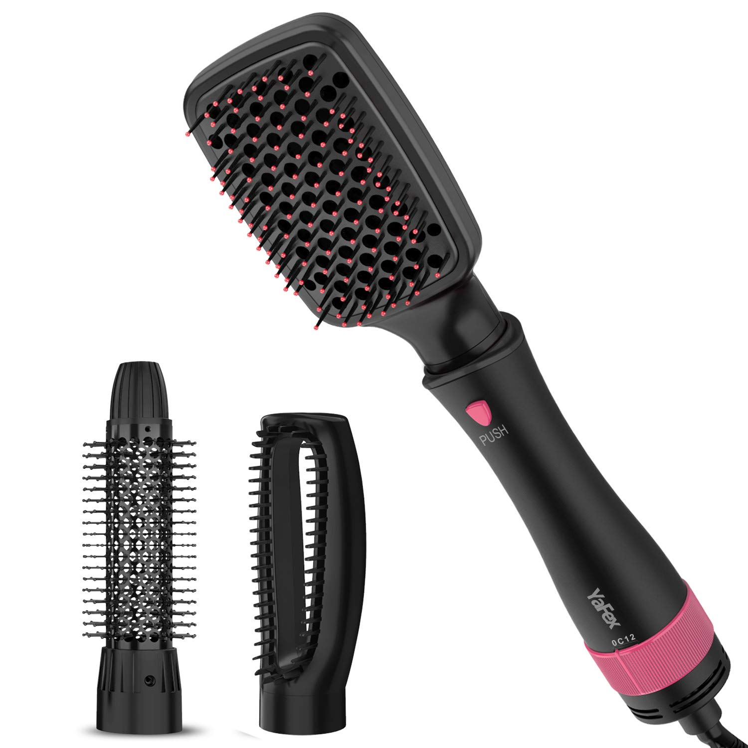 One Step Hair Dryer Styler and Volumizer - YaFex 3 in 1 Ionic Hot Air Brush, Blow Dryer Brush, Hair Curler and Straightener for All Hair Types by YaFex