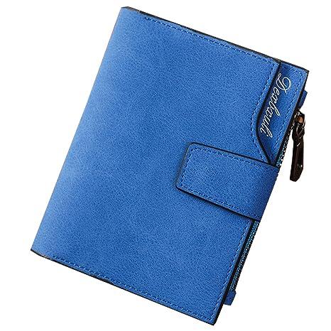 carteras de piel suave disponibles en diferentes colores temporada mujer elegante (Azul)