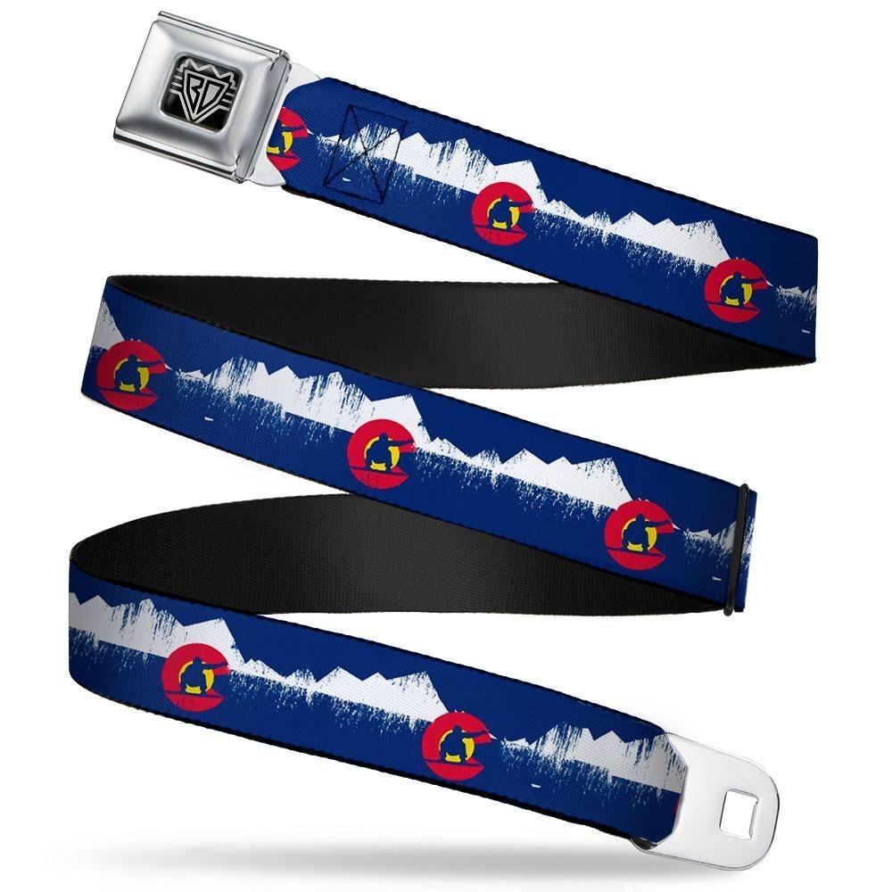 Buckle-Down Unisex-Adults Seatbelt Belt XL 1.5 Wide-32 to 52 Inches Colorado Snowboarder//Snowy Mountains Weathered