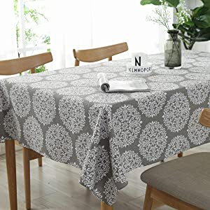 Bringsine Cotton Linen Fashion Baroque Style Printed Washable Tablecloth Vintage Oblong Dinner Picnic Table Cloth Home Decoration(Rectangle/Oblong, 55 x 71 Inch)
